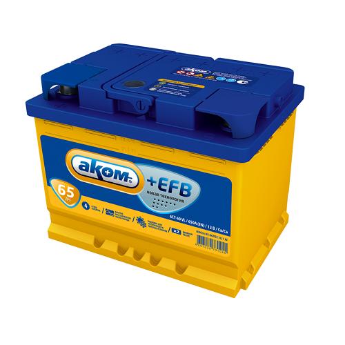 Аккумулятор AКОМ EFB 6СТ- 65 ач (п.п.)