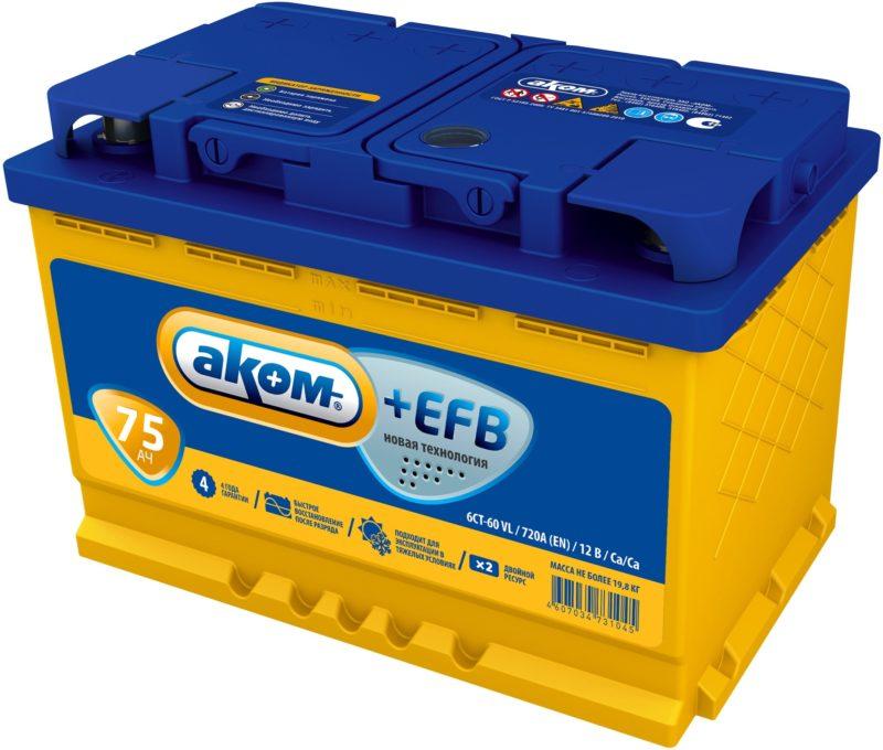 Аккумулятор AКОМ EFB 6СТ- 75 N (п.п.)