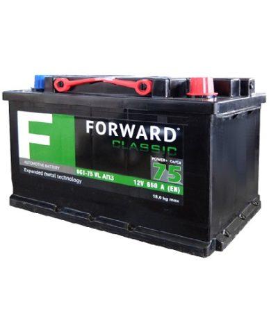 Аккумулятор FORWARD classic каз 6СТ- 75 VL АПЗ (о.п.) низ.