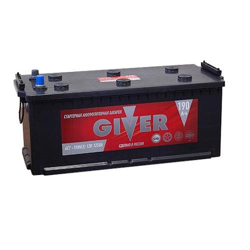 Аккумулятор GIVER 6СТ - 190 узкий.евро конус