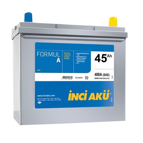 Аккумулятор Inci Aku ASIA FormulА 6СТ -  45 (о.п.) (55B24L) тонк.кл.