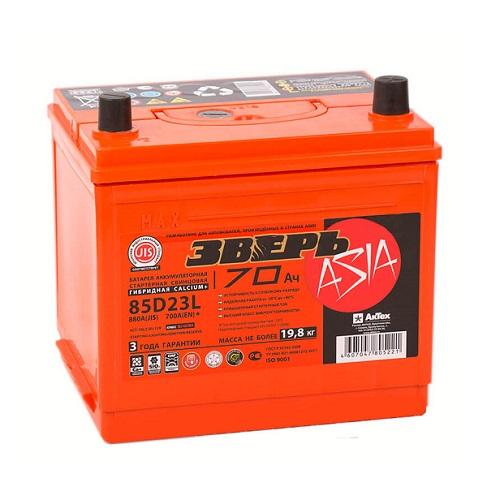 Аккумулятор ЗВЕРЬ Asia 6СТ- 70 LЗУ (85D23L)