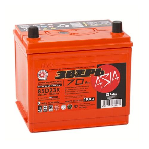 Аккумулятор ЗВЕРЬ Asia 6СТ- 70 LЗУ (85D23R)