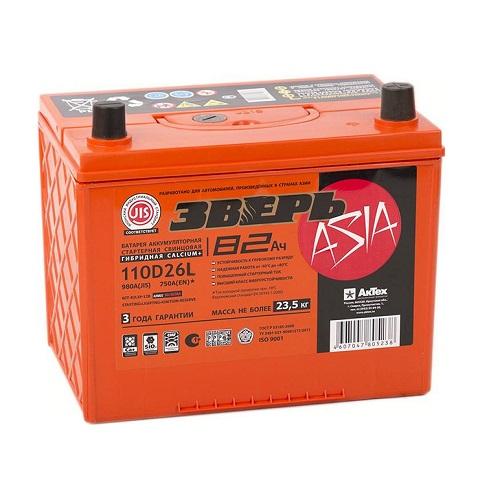 Аккумулятор ЗВЕРЬ Asia 6СТ-82.0 LЗУ (110D26L)