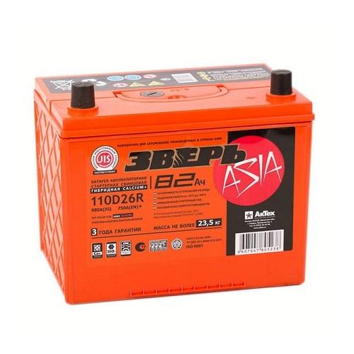 Аккумулятор ЗВЕРЬ Asia 6СТ- 82 ач (110D26R)