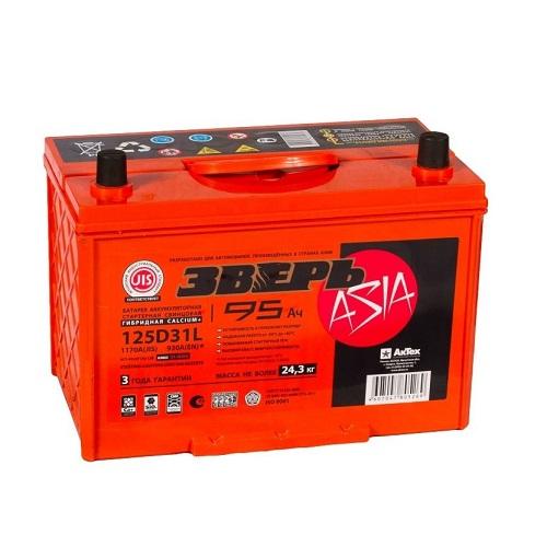 Аккумулятор ЗВЕРЬ Asia 6СТ- 95 (125D31L)