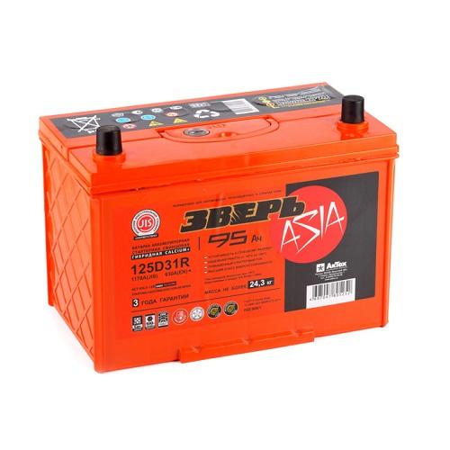 Аккумулятор ЗВЕРЬ Asia 6СТ-95.1 LЗУ (125D31R)